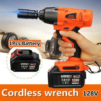 128V 320NM 12800mAh LED Electric Cordless Impact Wrench High Torque Drill Tool