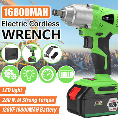 16800mAh 1/2'' Electric Brushless Cordless Impact Wrench Drill Torque Tool Kit