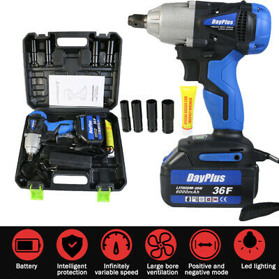 6000mAh 1/2'' Electric Cordless Impact Wrench Drill High Torque Tool Kit 36VF