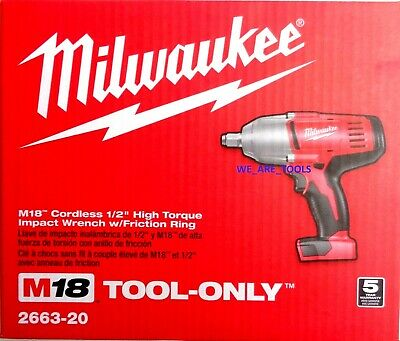 """New In Box Milwaukee M18 2663-20 Cordless 1/2"""" High Torque Impact Wrench 18 Volt"""
