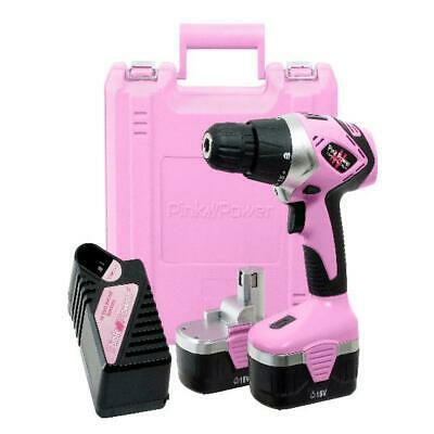 18V Cordless Drill Driver Set For Women With Tool Case Charger 2 Batteries Pink