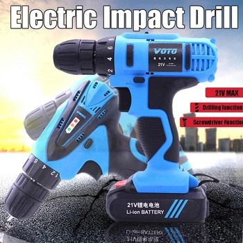 21V 16.8V 12V Electric Screwdriver Cordless Drill Double Speed Lithium Rechargeable Impact Screwdriver Household Power Tools