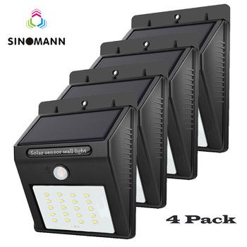 4pcs LED Solar Powered Light PIR Motion Sensor Rechargeable 20 LED Solar Wall Lamp Outdoor Waterproof Garden Yard Lamps