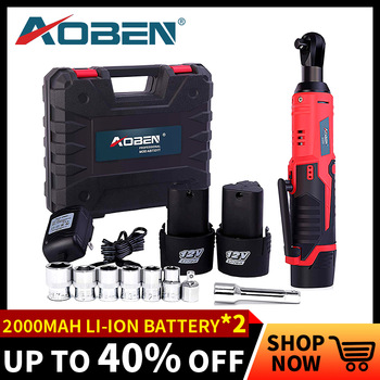 AOBEN Electric Ratchet Wrench 12V Cordless 3/8 Inch 2000mAh Lithium Battery Electric Wrench with 8 Sockets Power Tools Car Tools