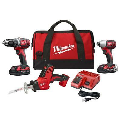 Cordless Power Tool Set Kit 3-Tool FREE 2 Batteries Charger Bag M18 Bundle NEW