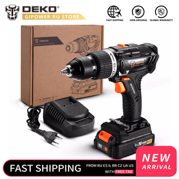 DEKO GBD20DU3 20V Max Brushless Impact Cordless Drill Electric Screwdriver 2.0 Ah Lithium-Ion Battery Home DIY Power Tool