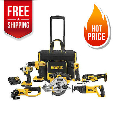 DEWALT DCKSS721D2 20-Volt 7-Tool Power Tool Combo Kit w Rolling Soft Case New!