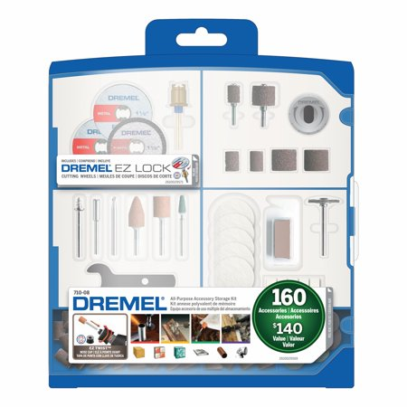 Dremel 710-08 Rotary Tool Accessory Kit with Plastic Storage Case,160-Piece