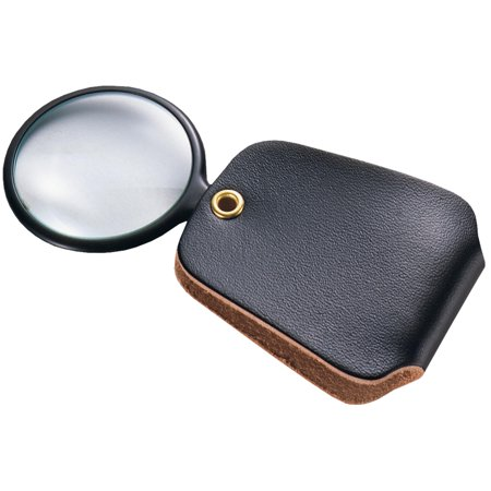 General Tools 532 2.5X Power Pocket Magnifier with Simulated Leather Case, Black