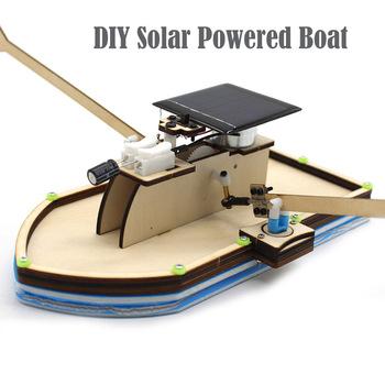 kids toys for boy girls energia solar toy car robot kiti Solar Powered Boat DIY Model Robot Boat Ship Puzzle Educational Toy Kit