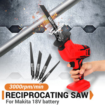Mini Electric Saw Cordless Reciprocating Saw Woodworking Cutting DIY Power Saws Tool with 4 Saw Blades for 18V Makita Battery
