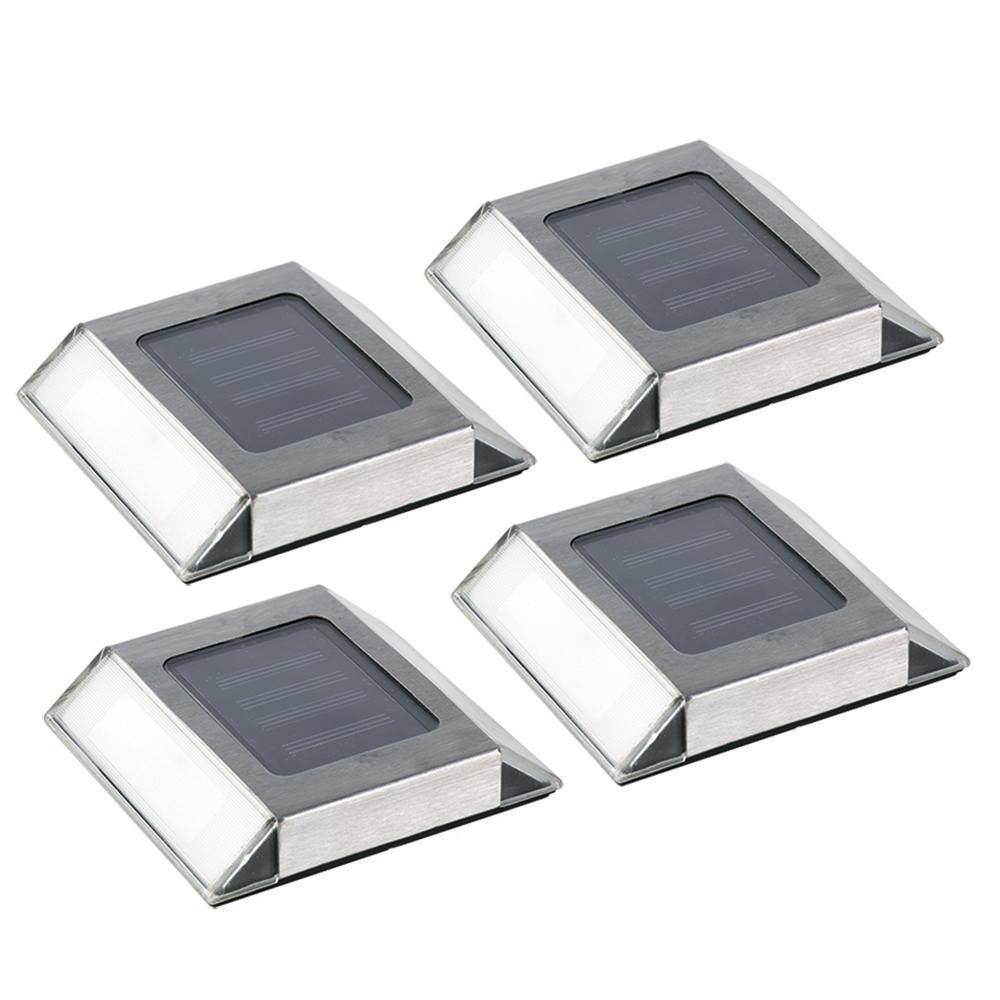 Nature Power Solar Powered Stainless Steel Pathway Light 4-Pack