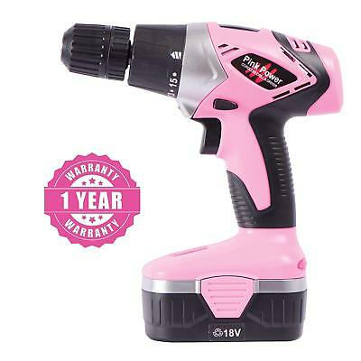 Pink Power PP182 18V Electric Drill Set for Women wTool Case Portable Cordless