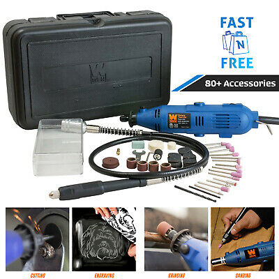 Rotary Tool Kit Flex Shaft Variable Speed Carry Case Works W/ Dremel Accessories