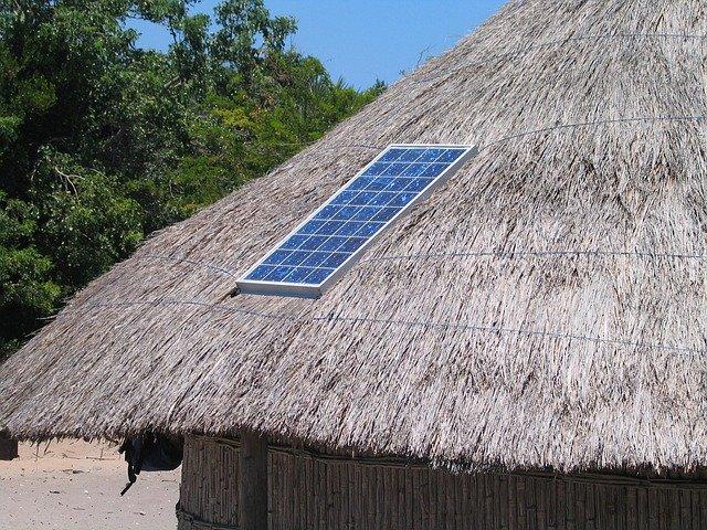 solar panel, roof, straw