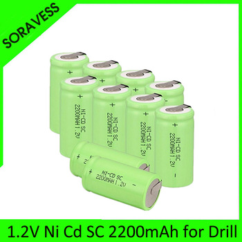 SORAVESS 2-10pcs SC 2200mah 1.2v battery NI CD rechargeable batteries for makita bosch Hitachi metabo dewalt for power tools
