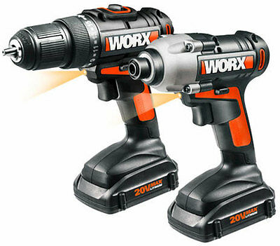 WORX WX916L 20V Lithium Powershare Drill and Impact Driver (2) Piece Combo