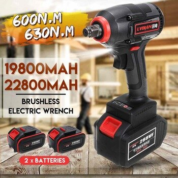 22800mAh 630N.m High Torque Brushless Cordless Electric Wrench Impact Wrench DIY Rechargeable WIth 2 Li-ion Battery Power Tools